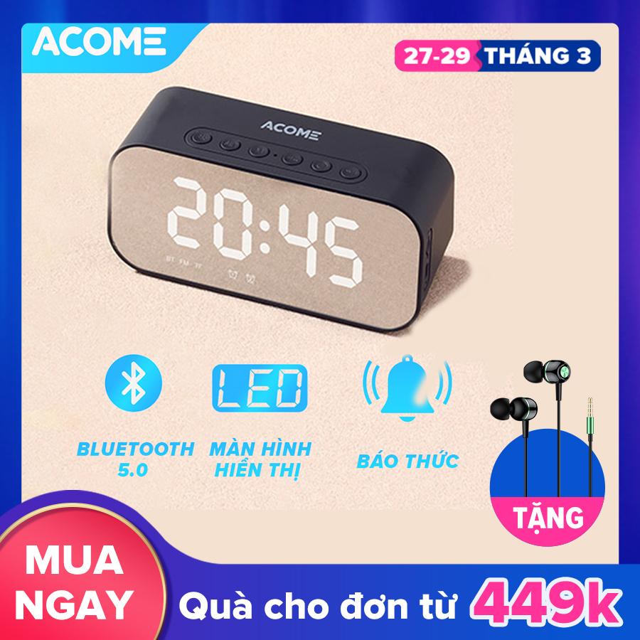 [VOUCHER giảm 7% tối đa 500K] ACOME A5 Loa Bluetooth đồng hồ 3in1 âm thanh HD sắc nét không rè âm bass trầm ấm công suất 5W phát được đài FM - HÀNG CHÍNH HÃNG
