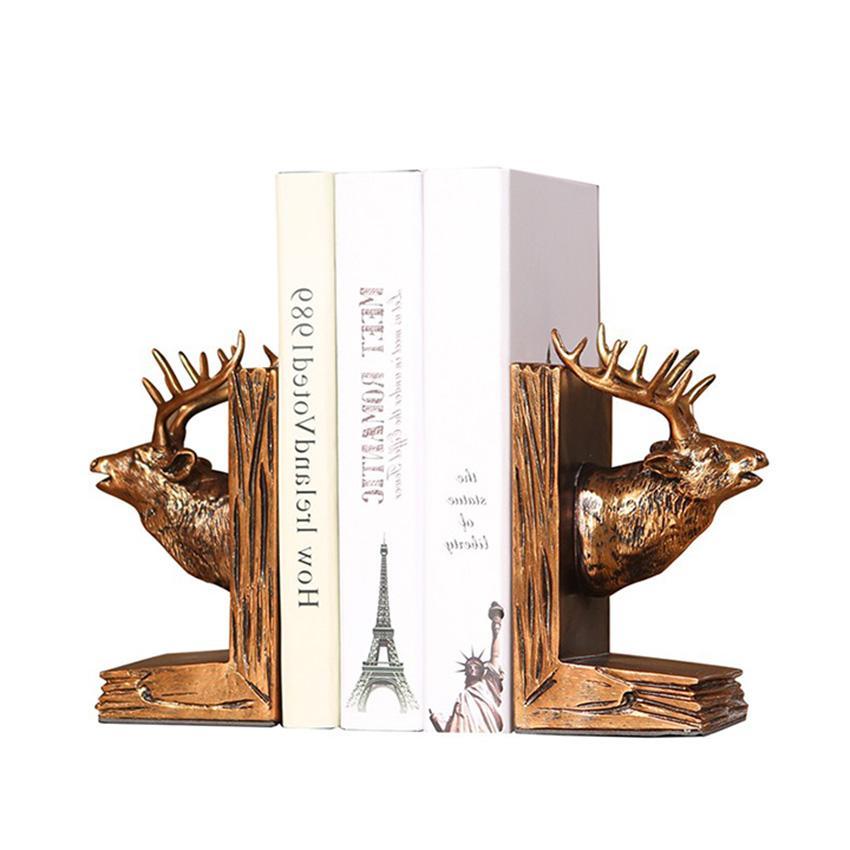 Mua Chặn sách đầu Hươu may mắn & tài lộc - Chặn sách điêu khắc đẹp, phong cách Châu Âu cổ điển & sang trọng trang trí bàn làm việc, kệ tủ-DecorShop