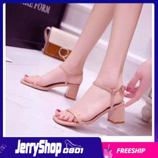 Sandal cao gót 5 phân quai ngang dây mảnh gót vuông thumbnail