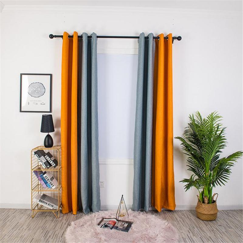 Fashionable Curtains Two-color Linen Curtains Thermal Insulation Polyester Spliced Curtains with Grommet for Living Room Kitchen Bedroom