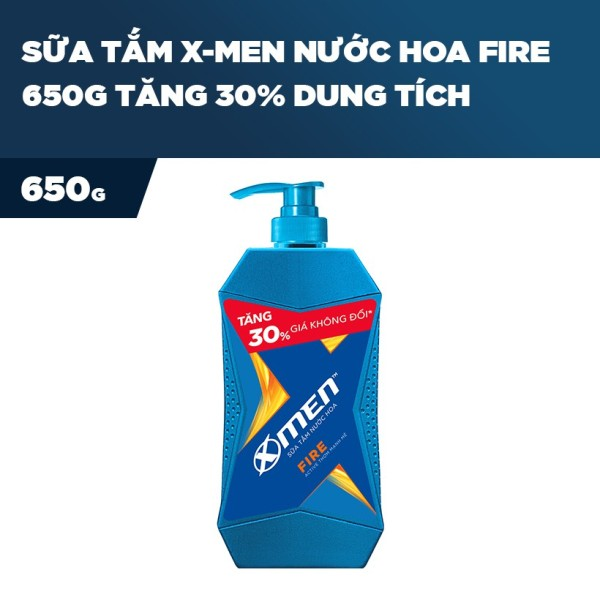 X Men -   Sữa Tắm X-Men Nước hoa Fire 650G Tăng 30 phần trăm dung tích  - Giá Sỉ tốt nhất