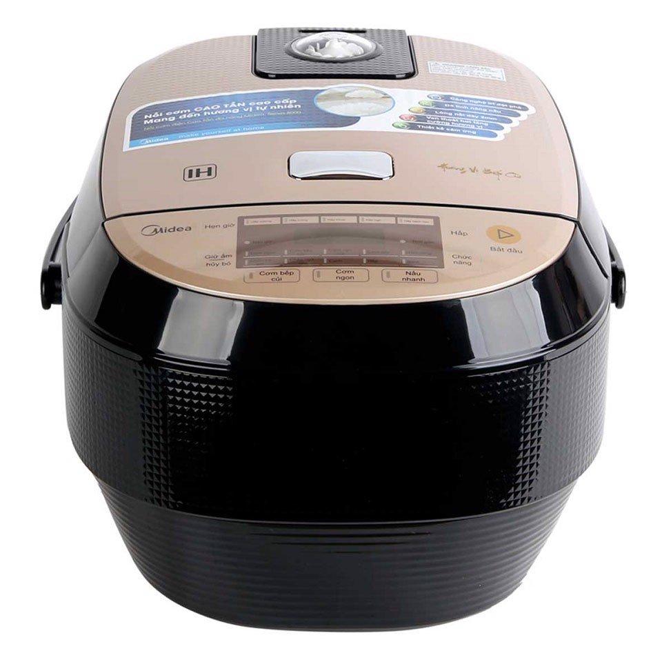 Nồi cơm điện cao tần Midea 1.8 lít MB-HS4007-Chính Hãng hàng trưng bàyLòng nồi 5 lớp dày 4mm làm từ hợp kim nhôm phủ chống dính, bền đẹp dễ vệ sinh. Chế độ nấu tự động đa dạng như: nấu cơm, nấu cơm bếp củi, cơm ngũ cốc, nấu cháo…