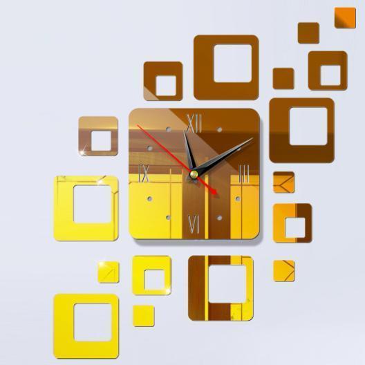 Đồng hồ dán tường, đồng hồ treo tường trang trí tráng gương bóng - 3 màu - DH19 bán chạy