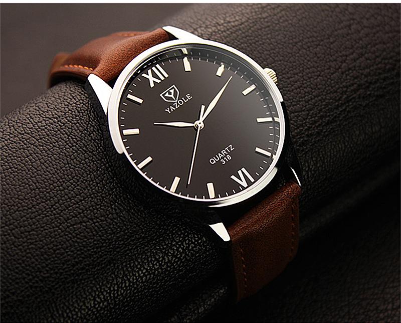 Đồng hồ nam Yazole 318 dây da sang trọng (Nâu)