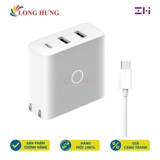 Combo Cốc sạc Xiaomi ZMI 2USB 1Type-C 65W 2A + Cáp Type-C to Type-C 1.5m HA832 - Hàng chính hãng - 2 cổng USB tiện dụng Sạc nhanh 65W Chiều dài cáp 1.5m Dòng điện ổn định Truyền tải điện tốt thumbnail