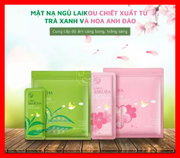 [COMBO 2 BỊCH] gồm 15 gói mặt nạ ngủ trà xanh và 15 gói mặt nạ ngủ hoa anh đào LAIKOU (1 bịch gồm 15 túi nhỏ) giá rẻ