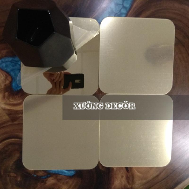 Gương dán nhà tắm,tủ gỗ CN dầy 1mm soi nét căng G20 20x20cm x 4 tấm 3 màu  bạc gương, đen, vàng