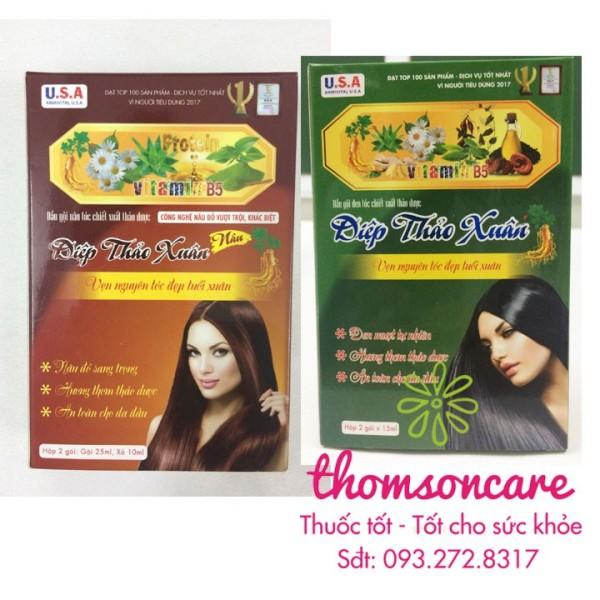 Nhuộm tóc Diệp thảo xuân từ thảo dược  có nhuộm đen và nâu sản phẩm có nguồn gốc xuất xứ rõ ràng sử dụng dễ dàng cam kết hàng nhận được giống với mô tả