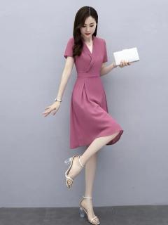 [HCM]Đầm nữ cổ vest xếp ly tay lỡ dự tiệc sang chảnh thời trang cao cấp thumbnail