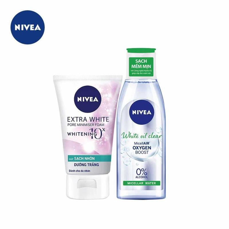 Bộ Sản Phẩm Nivea Dành Cho Da Nhờn: Nước Tẩy Trang Micellar Water 200ml và Sữa Rửa Mặt Extra White Pore Minimiser 100g tốt nhất