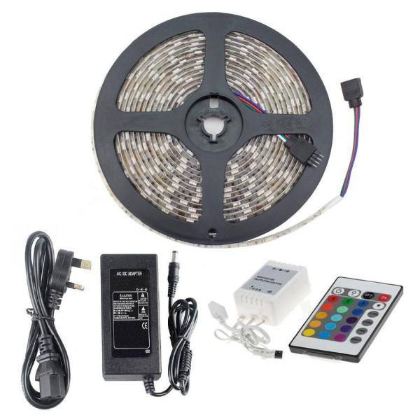 Bảng giá Bộ đèn led dây 5m-5050 7 màu phủ keo silicon + Điều khiển + Nguồn