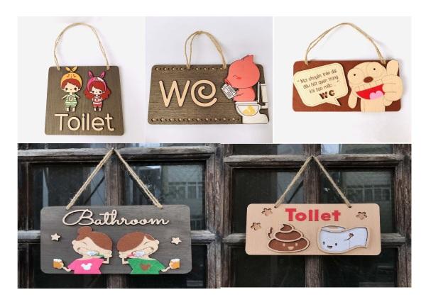 Biển treo cửa gỗ Toilet cho nhà tắm ngộ nghĩnh