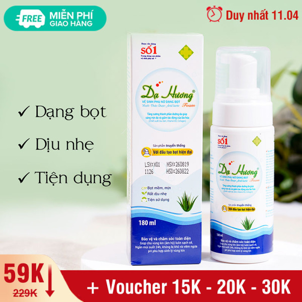 Dung dịch vệ sinh phụ nữ Dạ hương sensi lô hội dạng bọt đặc chế cho da nhạy cảm 180ml XP-DH01 giá rẻ