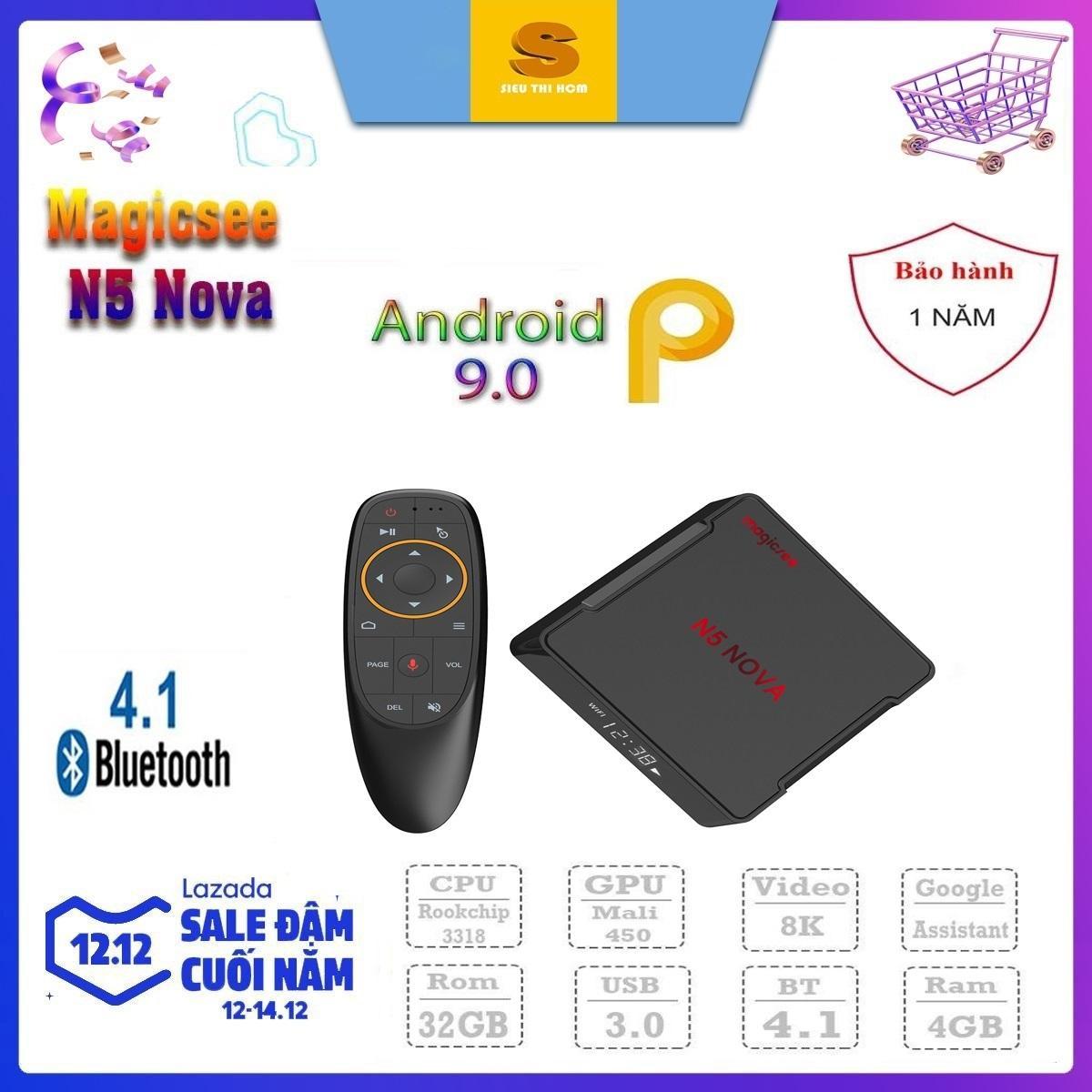 [Có Video] Android Tivi Box Magicsee N5 Nova - Ram 4GB, Rom 32GB, Android 9.0 - Kèm Điều Khiển Voice Giá Rẻ Bất Ngờ