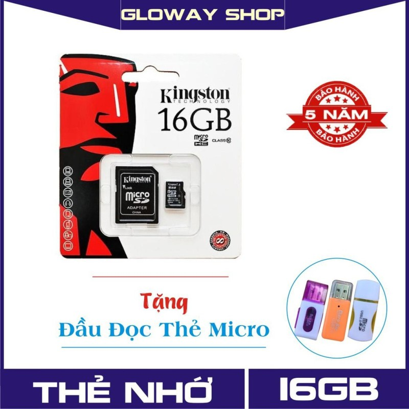 Thẻ nhớ 16GB Kingston MicroSD Class 10 (Kèm Adapter) - Bảo hành 5 năm !