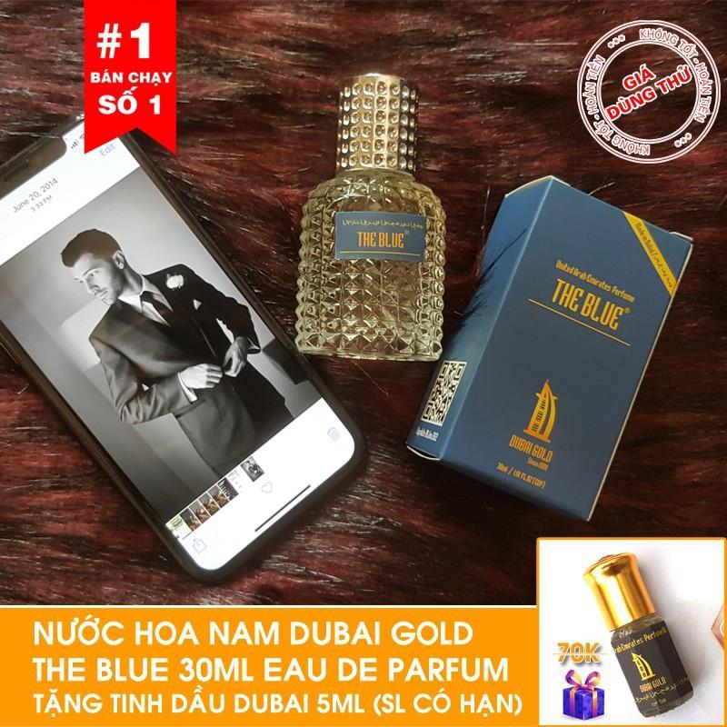 [Tặng tinh dầu Dubai ] - Nước hoa nam Dubai Gold The Blue 30ml dạng xịt  Tặng tinh dầu Dubai 5ml khi mua hàng hôm nay chính hãng