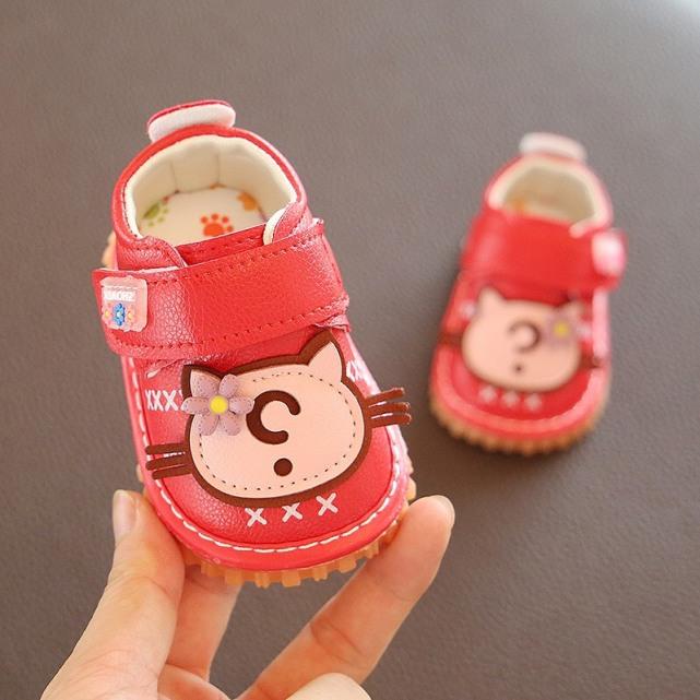 Giày tập đi cho bé gái đế mềm êm chân có kèn mặt mèo dễ thương cho bé 0-2 tuổi-NG8 giá rẻ