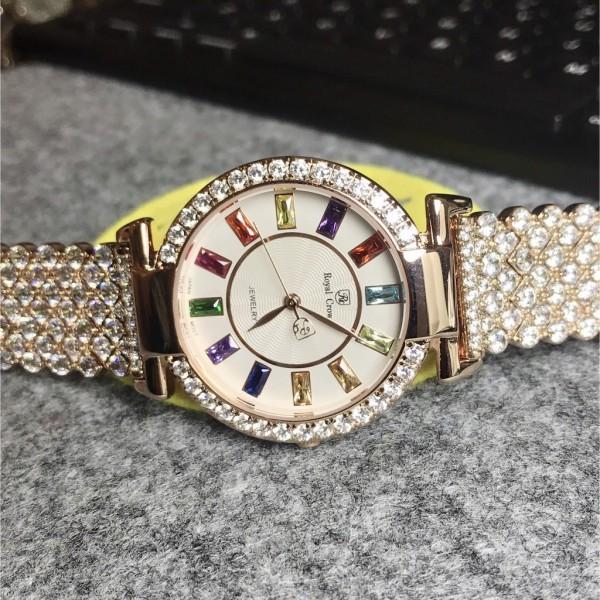 Đồng hồ nữ ROY.A.L CRO.WN mặt đá thiết kế với những viên kim cương sang trọng bán chạy