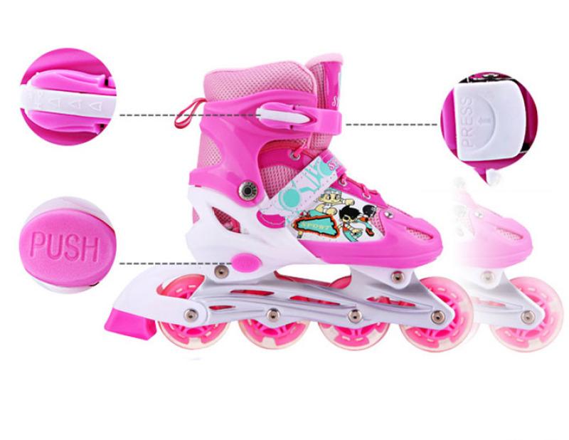 Phân phối Giày trượt patin trẻ em 4 bánh phát sáng tặng kèm đồ bảo hộ Mũ, đệm tay, chân - giày trượt thể thao đủ size cho bé và người lớn từ S-M (size số 26 - 41) - GIÀY TRƯỢT PATIN