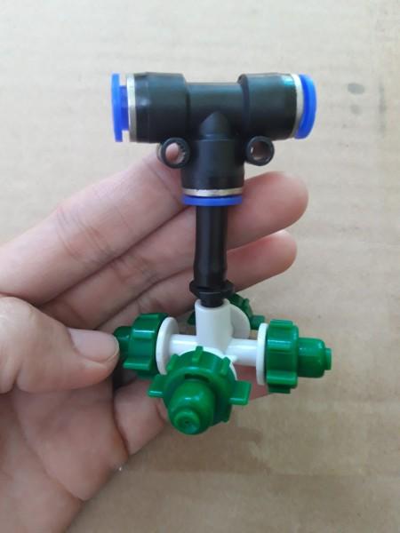 Set 10 cái Béc tưới màu xanh 4 hướng kèm T (ngã ba) gài dây 8mm