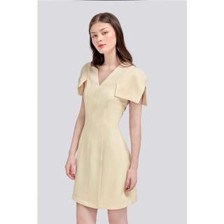 RECHIC Đầm Lanie Màu Be Cổ V tay kiểu xinh xắn dễ thương dạo phố công sở thumbnail