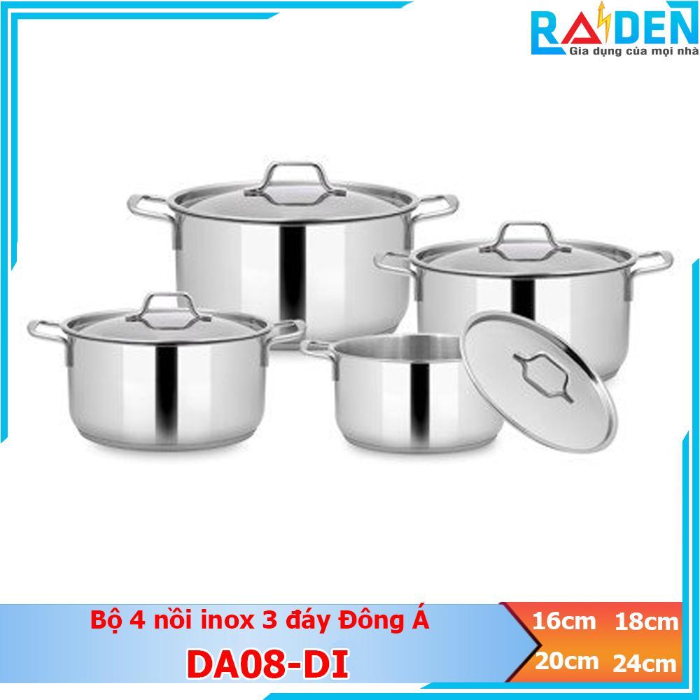 Bộ 4 nồi thân cao inox 3 đáy Đông Á DA08 dùng được trên bếp từ (Nắp kính / Nắp inox)
