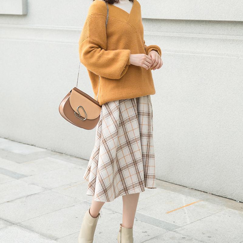 Khuyến Mại】 Sang Trọng Đầu Thu Len Phục Cổ Cao Eo Kẻ Sọc Chân Váy 2018 Mới  Dài Mùa Đông Siêu Lửa Của Chân Váy
