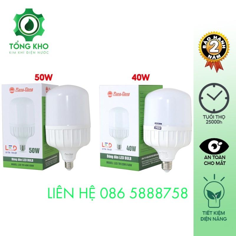Bóng đèn LED Bulb trụ nhôm đúc Rạng Đông 50W, 40W - Tiết kiệm điện năng, tuổi thọ cao, độ tin cậy cao, không hạn chế số lần bật tắt, ánh sáng trung thực tự nhiên - Tổng kho kim khí điện nước