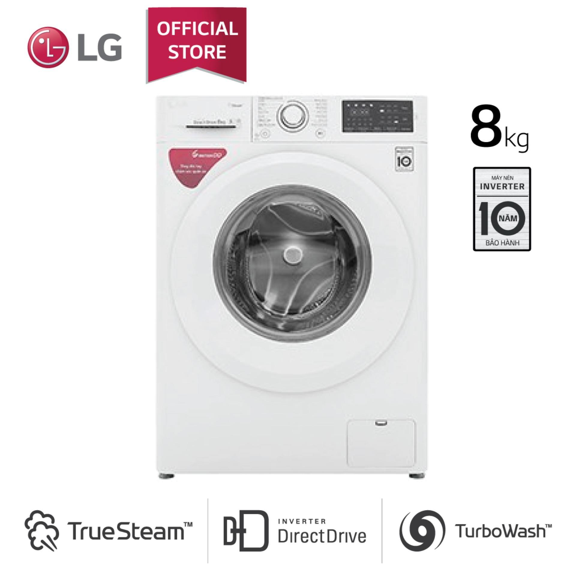Máy giặt LG Inverter cửa trước FC1408S5W (Trắng) 8kg (2019) - Bảo hành 24 tháng - Hàng phân phối chính hãng