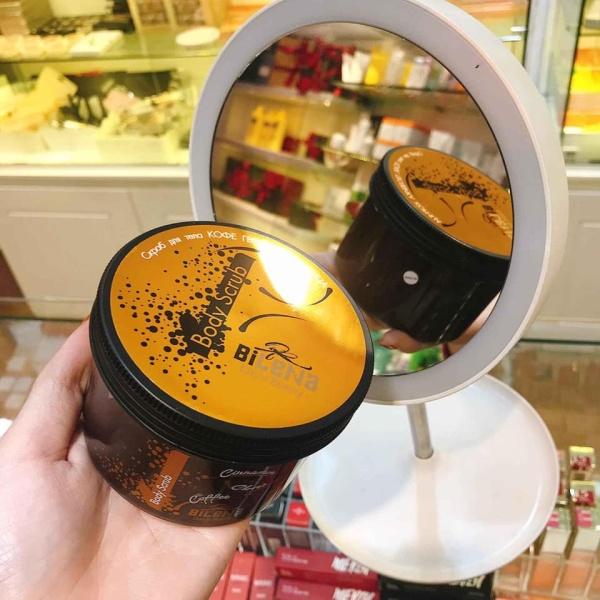 Tẩy Da Chết Nga Body Coffee Bilena (250g) Hỗ trợ loại bỏ mụn trên cơ thể, các khuyết điểm da chảy sệ