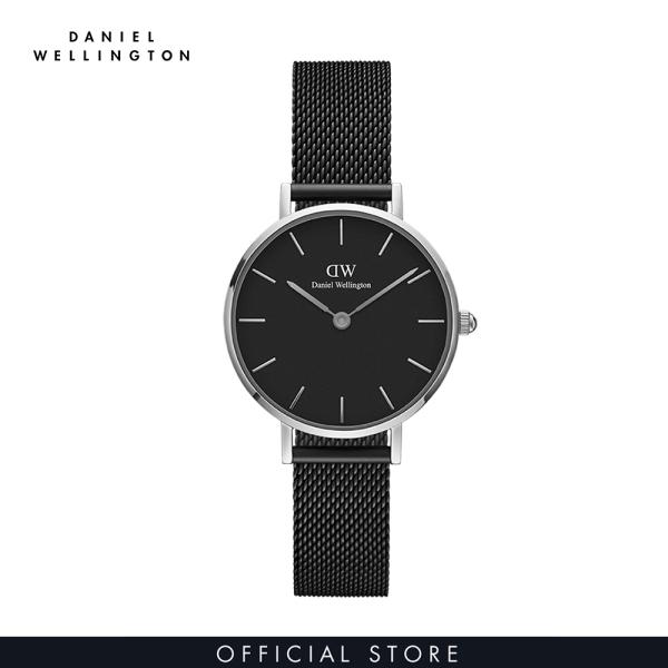 Đồng hồ Nữ Daniel Wellington dây lưới - Petite Ashfield mặt đen - vỏ bạc