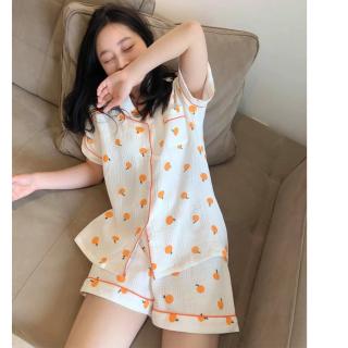 Bộ đồ pyjama 2 Màu Trắng Vàng chất xô cam siêu xinh, set đồ mặc nhà ngắn tay có chun tay dễ thương CKS509 thumbnail