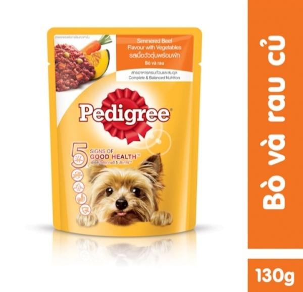 Thức ăn cho chó lớn dạng sốt Pedigree vị bò và rau củ 130g