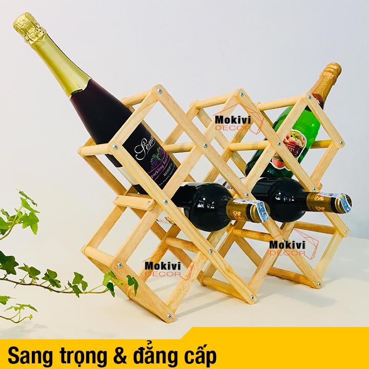 Kệ Rượu Gỗ Xếp Gọn đựng 10 Chai Tiện Lợi Cho Nhà Bếp Siêu Giảm Giá