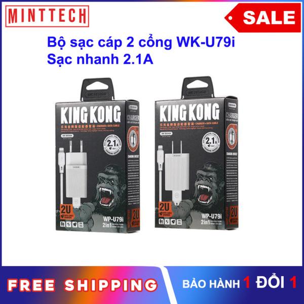 [Hàng Chính Hãng] Bộ Củ Cáp Sạc iPhone KingKong WP-U79i 2.1A MintTech tặng kèm cáp cho iPhone 5,5S, 6, 6S ,7,8,8Plus,X,XS,XR,XS Max