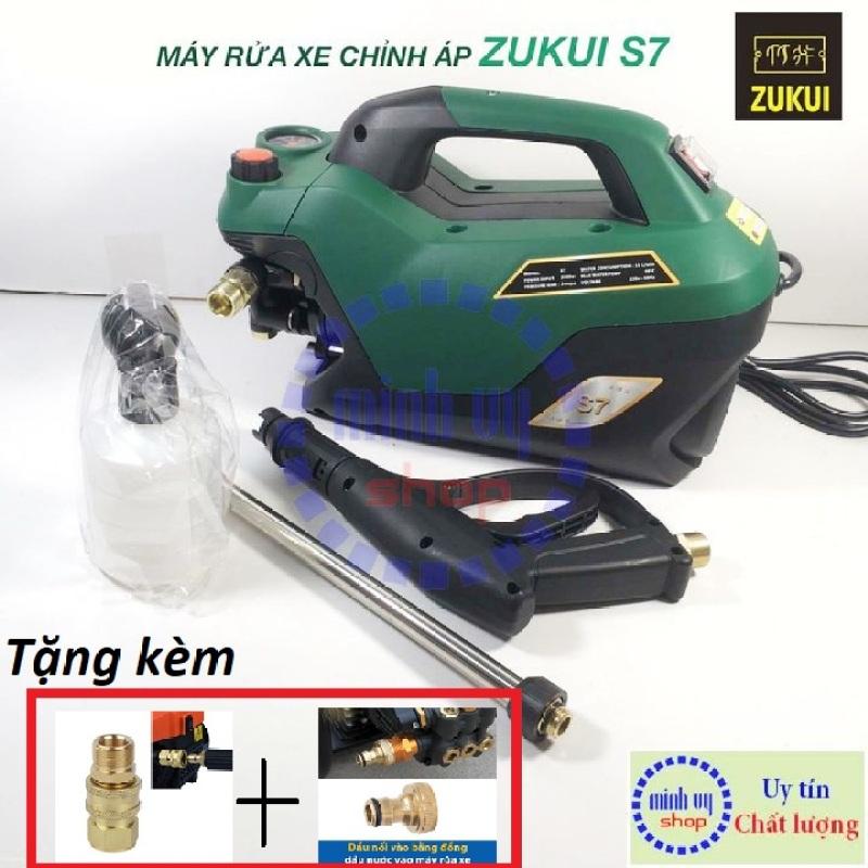 Máy xịt rửa xe chỉnh áp Zukui S7 - 2800W - Tặng kèm 1 bộ khớp nối nhanh bằng đồng và 1 cút đồng- Mẫu 2020