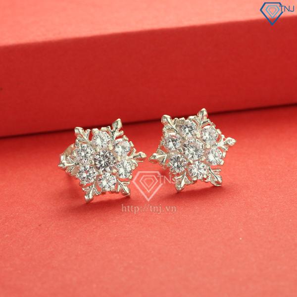 Bông tai nữ bạc ta hoa tuyết đính đá đẹp BTN0095 - Trang Sức TNJ