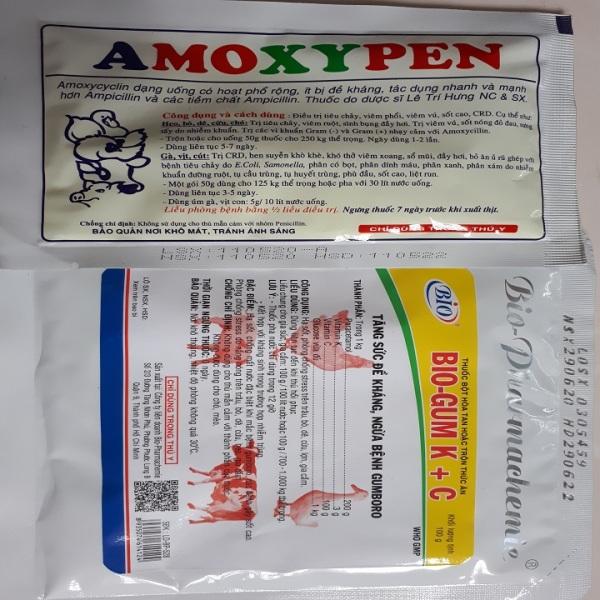 BỘ ĐÔI Amoxypen và Bio Gum KC ĐẶC TRI HÔ HẤP VÀ TIÊU HÓA CHO GÀ VỊT