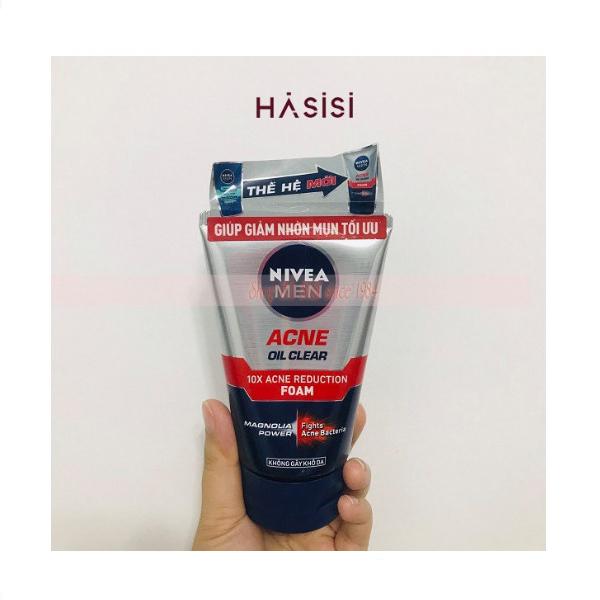 SỮA RỬA MẶT NIVEA - Men Acne Oil Clear 10X Acne Reduction Foam 100g (Giảm Nhờn Mụn) giá rẻ