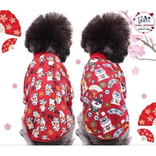 Áo tết vải nỉ cho chó mèo hoạ tiết mèo thần tài - áo tết cho thú cưng, đa dạng kích cỡ, chất lượng đảm bảo và cam kết hàng như mô tả