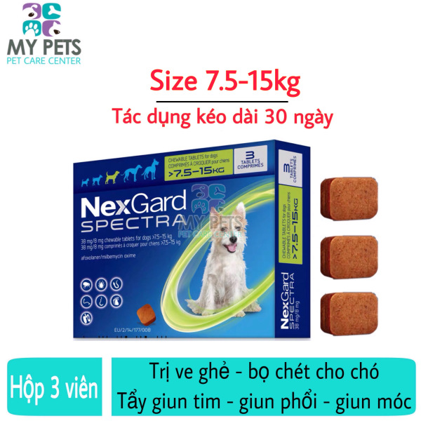 NEXGARD SPECTRA Thuốc trị ve ghẻ, bọ chét, demodex, tẩy giun cho chó - Hộp 3 viên (7,5-15kg)