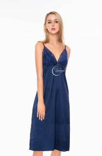 Dreamy VD01 - Váy ngủ lụa cao cấp dáng dài phối ren ngực quyến rũ màu xanh đen thumbnail