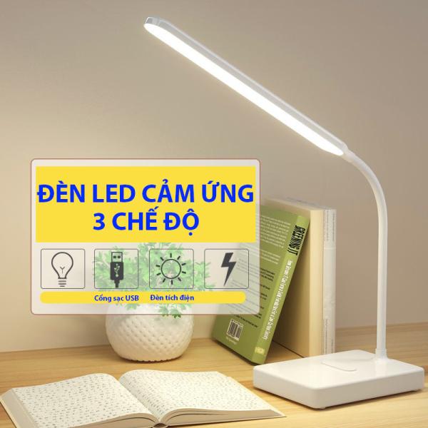 Bảng giá Đèn LED Để Bàn, Đèn Học, Đèn Đọc Sách, Đèn Ngủ, Đèn Làm Việc Cảm Ứng 3 Chế Độ Sáng Thân Xoay 360 Độ Có Tích Điện PT Store