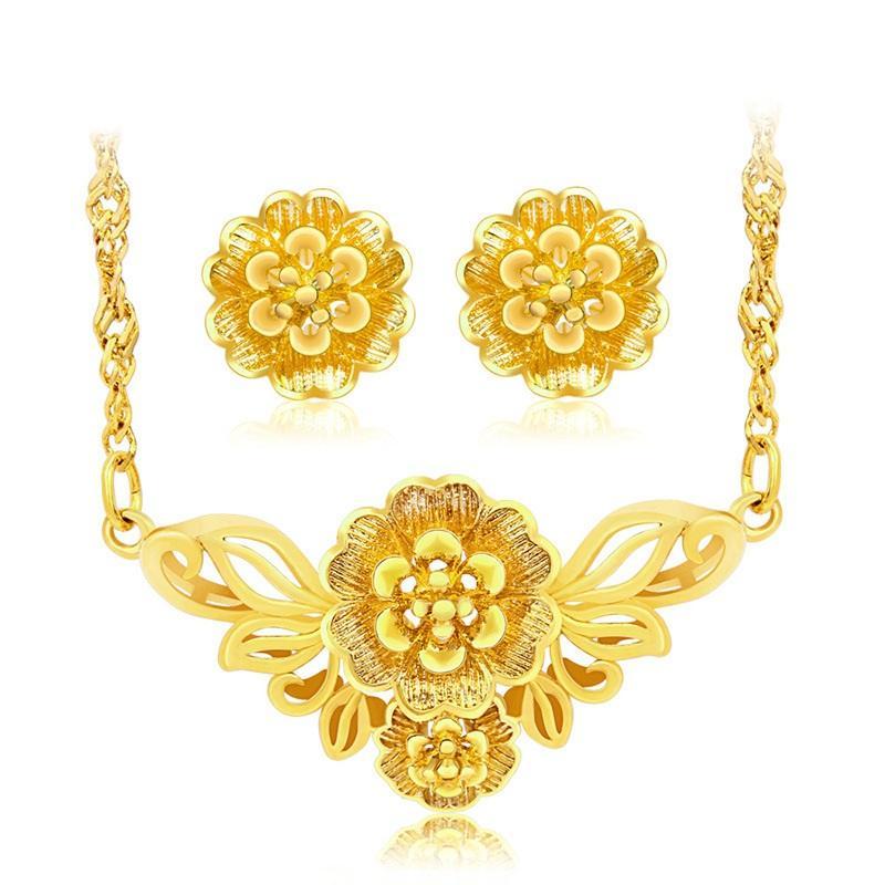 Bộ trang sức hoa đào mạ vàng