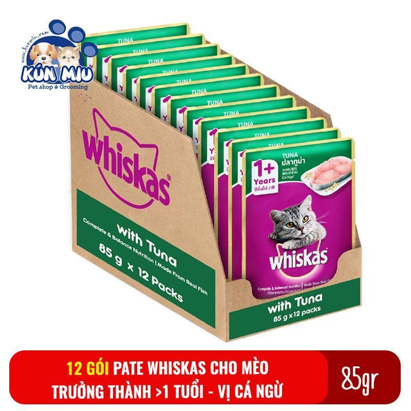 Combo 12 gói Thức ăn Pate Whiskas cho mèo trưởng thành 85gr Vị Cá ngừ - Thức ăn cho mèo Pate whiskas