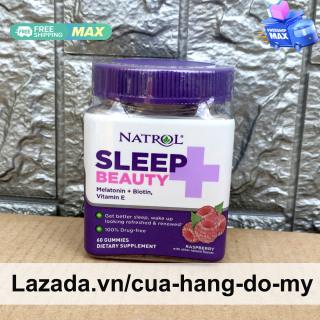 Kẹo dẻo Natrol Sleep + Beauty Gummies Melatonin + Biotin , Vitamin E 60 viên - Natrol Sleep Plus hỗ trợ ngủ ngon, thức dậy sảng khoái và tươi mới thumbnail
