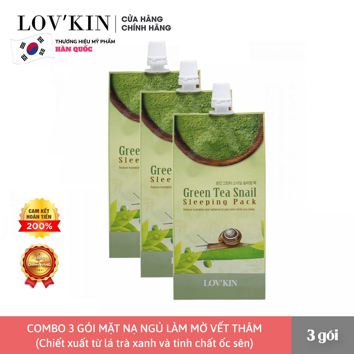 Combo 3 Mặt Nạ Ngủ Chống Lão Hóa Từ Trà Xanh Và Tinh Chất Ốc Sên LOV'KIN  Green Tea Snail Hàn Quốc (10g x 3 gói) cao cấp