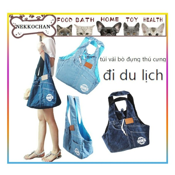 Túi Vải Denim Jeans Đeo Vai Đựng Thú Cưng Chó Mèo Đi Cà Phê, Du Lịch Tiện Dụng