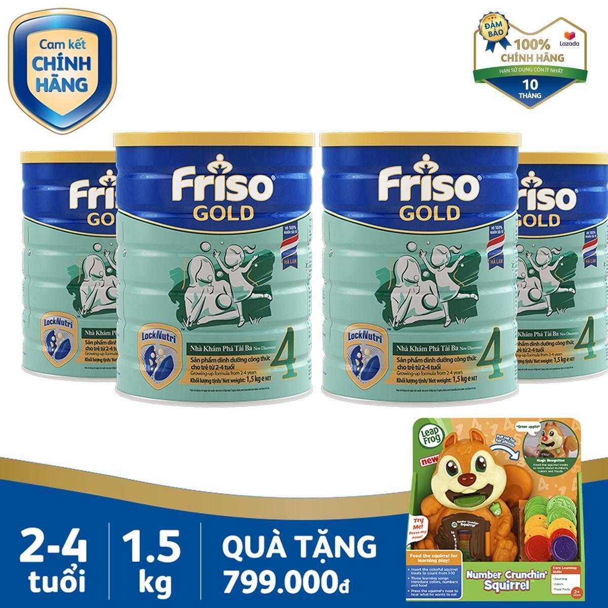Bộ 4 Lon Sữa Bột Friso Gold 4 1.5kg Cho Trẻ Từ 2-4 Tuổi + Tặng 1 Sóc Con Leapfrog Trị Giá 799k - Cam Kết HSD ít Nhất 10 Tháng Đang Ưu Đãi Cực Đã