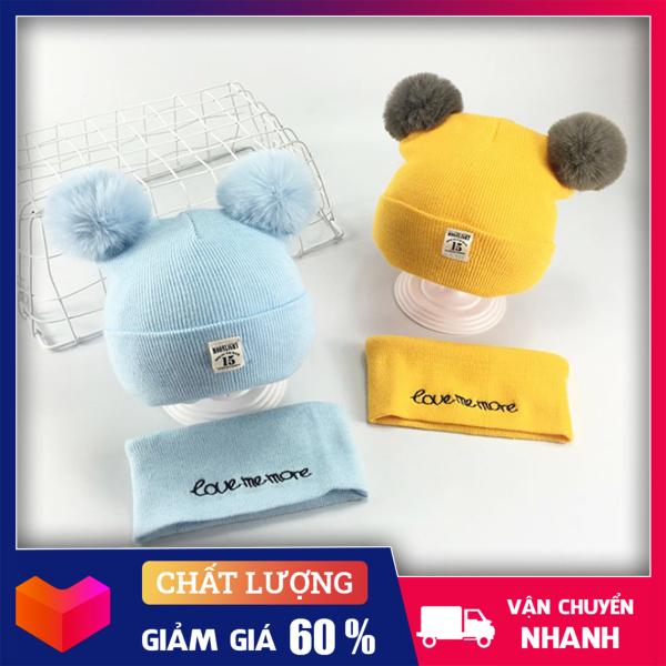 Giá bán Mũ cho bé - Mũ len 2 quả bông kèm khăn love me more- Mũ len kèm khăn ống siêu xinh cho bé